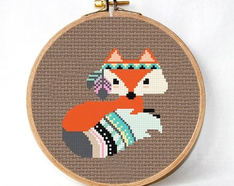 Fox Cross Stitch Pattern pdf Pattern Instant Download Cross Stitch Gift unique designs, womens gift unique  baby gifts, free shipping