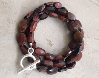 Red Tiger Eye Wrap Bracelet