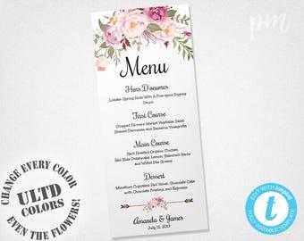 Wedding Menu Template, Printable Menu, Floral Wedding Menu Template, Wedding Dinner Menu, Instant Download, Edit in Our Web App