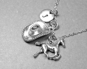 Cowboy hat necklace, horse necklace, country western necklace, cowgirl jewelry, cowboy necklace, rodeo necklace, personalized necklace