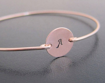 Rose Gold Bracelet, Personalized Women's Bracelet, Rose Gold Initial Bracelet for Women, Bridesmaid Rose Gold Jewelry, Rose Gold Bangle