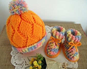CROCHET PATTERN Baby Set Hat and booties -Diamonds Baby Crochet Set pdf crochet pattern Instant Download baby crochet shoes baby crochet hat