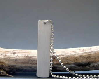 Sterling silver mens bar necklace , Matte finish bar necklace, Mens jewelry