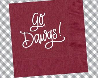 Go Dawgs! Napkins (Qty 25) - Maroon