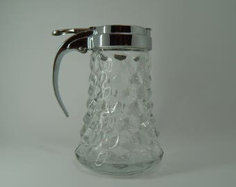 Fostoria American Glass Syrup Pitcher with Metal Lid
