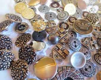 Metal Buttons Assortment  Shank Flat Antique Brushed Metallic Lot (116)