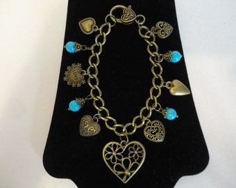 "CLEARANCE SALE!!!!! 8"" Antique Bronze Heart Charm Bracelet w/Turquoise Color Stone Beads"