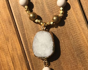 White Jade and Drusy Necklace