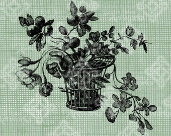 Digital Download Flower Basket, digi stamp, digis, digital stamp, Botanical Floral Arrangement with foliage & flowers