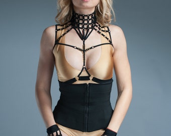 Black Harness Top - Goth Lingerie