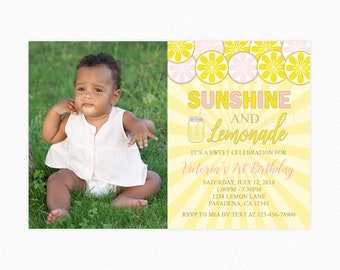 Lemonade Birthday Party Invitation, Lemonade and Sunshine, Lemonade Party, Personalized, Printable or Printed Invitations