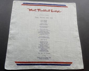 Mont Tremblant Lodge Joyeux Noel 1959 - Vintage 1950s Souvenir Cotton Hankie Handkerchief