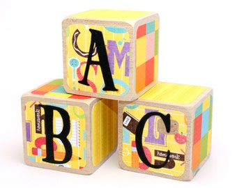 CLEARANCE - Wood Blocks- ABC Blocks - Baby Block Letters - Baby Shower Decor - Nursery Room - Educational Toy - 2 Inch Blocks