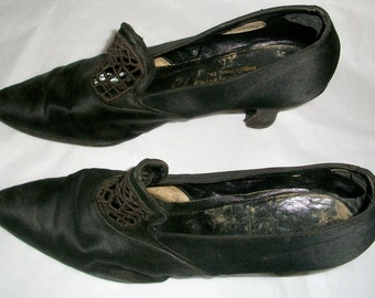 20's or 30's Black Silk Pumps or Shoes