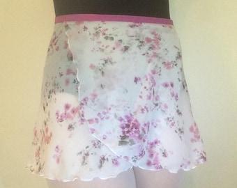 Youth Chiffon Ballet Wrap Skirt - Floral Print
