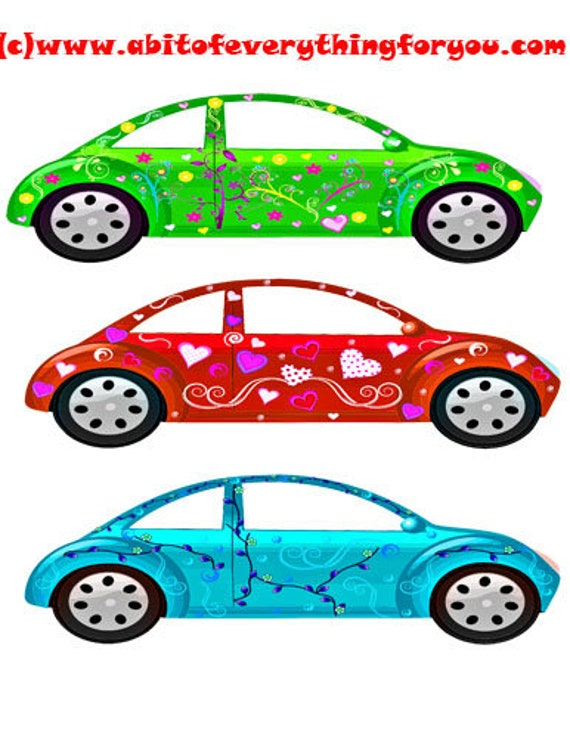 girlie flower cars clipart die cuts craft cut outs clipart digital download graphics images printables