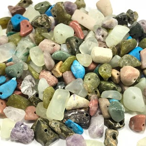 Mixed Gemstone Chips Pre Drilled Stone Chips Gemstone Chip Beads Crystal Chips Healing Stone Beads Crystal Chip Beads Gemstone Beads Healing