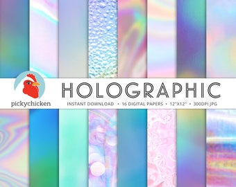 Holograph Digital Paper -  iridescent holographic abstract neon bokeh faux shimmer holo photography backdrop Instant Download 8101