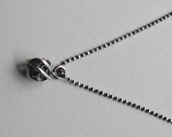 Sterling Silver Knot Necklace Oxidized Sterling Silver on Ball Chain Necklace, Handmade Handcrafted Sterling Silver Love Knot Oxidised Chain