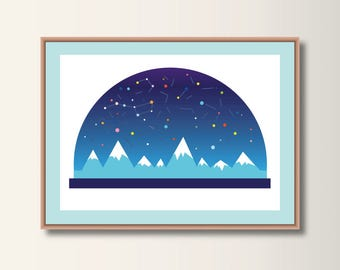 Starry Sky, Snow Globe, Art Print, Poster, Nursery Art, Minimalist Print, Minimal Print
