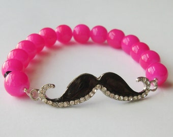 Hot Pink Moustache Stretch Bracelet