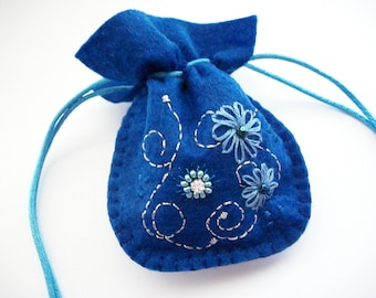 Ring Pouch Blue Felt Little Drawstring Bag Hand Embroidery Handsewn One of a Kind