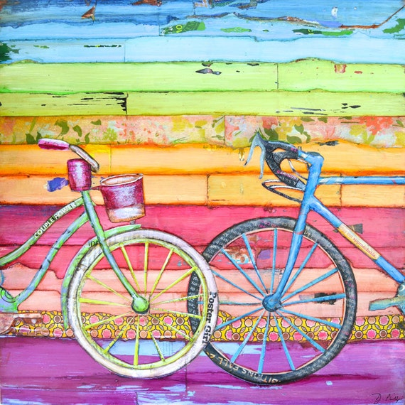 BICYCLE PRINT or CANVAS Bike biking cycling wedding engagement anniversary gift couple love valentines poster painting for him her,All Sizes