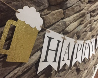 Cheers and Beers Themed Birthday Banner, 30th Birthday Banner, 21st Birthday Banner, 40th Birthday Banner, 50th Birthday Banner