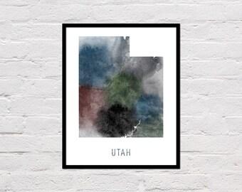 Utah Map Print, Utah Art Print, Utah Printable, Wall Art, Utah State Map, Watercolor Map, Utah Poster, Printable State Map, Digital Download