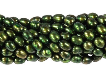 15 1/2 IN Strand 5-5.5 mm Freshwater Pearls Rice Shaped Dark Green Color (FWR1001002)