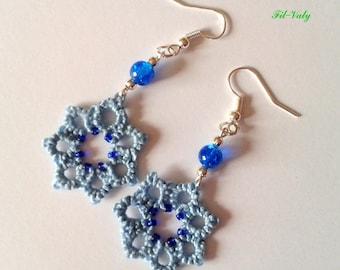 Flowers blue tatting earrings