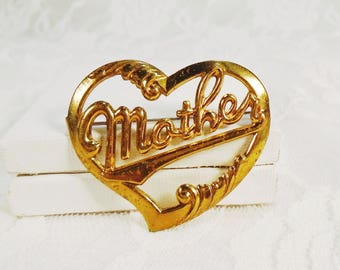 Vintage Mother Heart Brooch, Heart Shaped Brooch, Gold Plated Brass, Mother Pinback, 1940s Mother Brooch, Mother's Day, Mom's Birthday.
