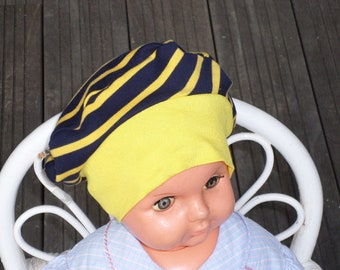 Hat turban Hat designer /pour Baby / Jersey / striped/yellow and blue/lineva/spring/summer birthday gift