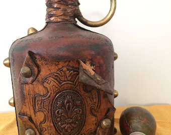 Vintage Italian Ornate Leather Wrapped bottle