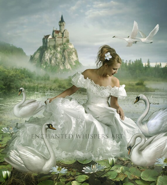 fantasy Princess with swans art print
