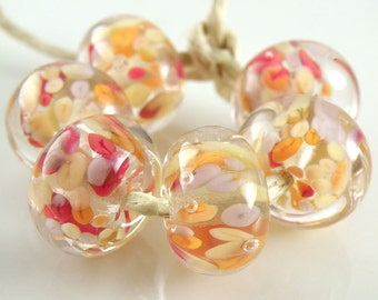 Straw Fire Encased SRA Lampwork Handmade Artisan Glass Donut/Round Beads Made to Order Set of 6 10x15mm