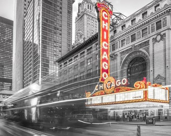 Chicago Photography, Chicago Theatre, Chicago Theatre Marquee, Vintage Neon Sign Chicago, Chicago Wall Art, Chicago Canvas, Urban Art