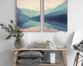 Mountain Set Print, Mountain Print, Landscape Wall Art, Printable Wall Art,  Scandinavian