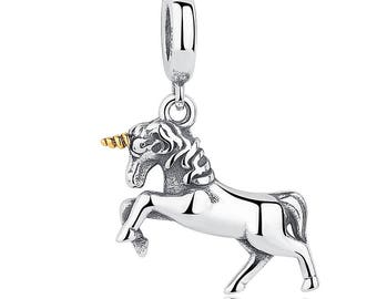 1 Unicorn Horse Charm Pendant - 925 Sterling Silver - Jewelry Making