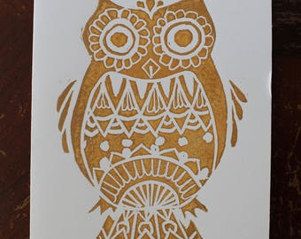 Handprinted Owl Linocut Card
