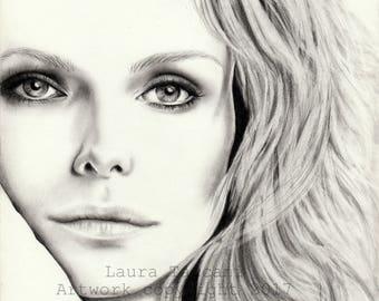 Stampa d'arte firmata - Ritratto di Michelle Pfiffer - Disegno grafite