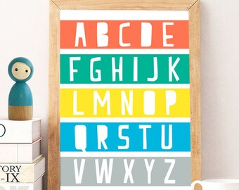 Wall art prints colorful, wall art prints school, spring wall decor print, colorful 8x8 print, Instant  wall prints, wall print alphabet