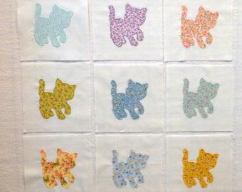 Pretty Kitties Appliqued Quilt Blocks