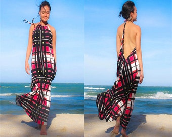 Black red Halter open back long maxi dress sun evening S M L XL