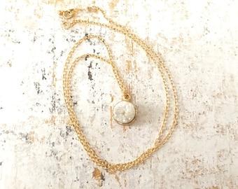 Gemstone Druzy Necklace Gold