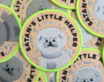 Iron on patch // Satan's Little Helper // Dog // Bad Dog // Bischon // Cute // Funny embroidered patch for jacket