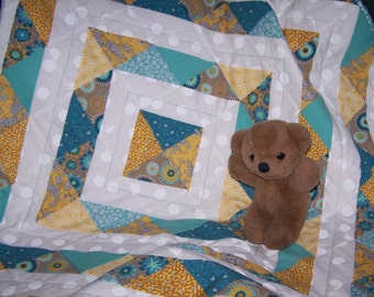 Modern baby quilt blue and yellow