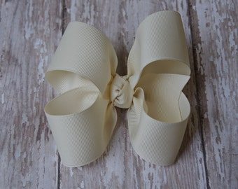"Ivory Large Hair Bow 4"" Alligator Clip Girls Hairbow 4"" Ivory Hair Bow Off White Large Bow Girl Hairbow Cream Girls Bow"