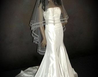 Custom Bridal Veil - Double horsehair / crinoline edging.  Sheer circular bridal veil.  Unique veil!