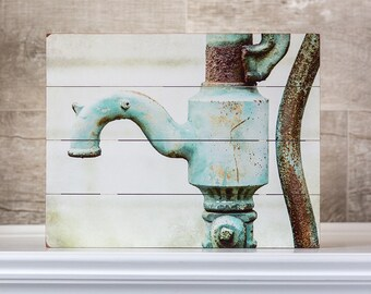 "IN STOCK: 9x12"" Rustic Bathroom Wall Decor Wood Sign Teal Farmhouse Bathroom Wall Decor Fixer Upper Wooden Bathroom Sign Faucet."